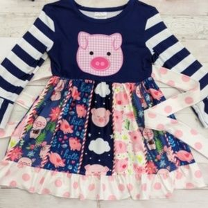 Girl's long sleeve piggy dress Various Sizes 2T-7